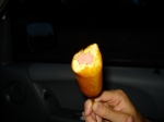 My BF's first ever corndog!  We went to the drive-in movie theater
