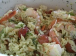 Shrimp, grape and rice salad
