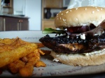 My BBQ'd portobello mushroom burger with pesto mayonnaise.  I also had a few spicy chipotle sweet potato fries!